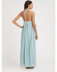 Mara Hoffman - Blue Embroidered Halter Maxi Dress - Lyst