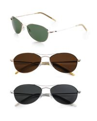 Oliver Peoples | Metallic Aero 57 Polarized Metal Sunglasses | Lyst