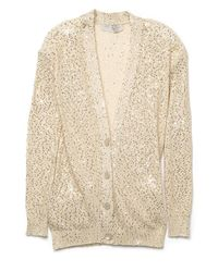 Stella McCartney | Natural Sequin Cardigan | Lyst