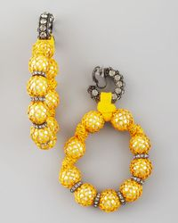 Lanvin - Yellow Raffia-wrapped Earrings - Lyst