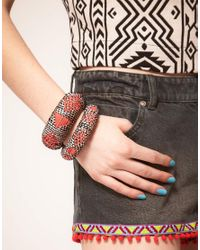 ASOS Collection - Multicolor Asos Pack Of Two Wicker Thread Aztec Bangles - Lyst