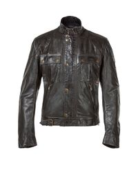 Belstaff - Antique Black Leather Gangster Blouson Jacket for Men - Lyst