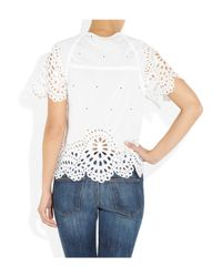 Étoile Isabel Marant - White Arthel Broderie Anglaise Cotton Top - Lyst