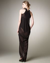 Rick Owens - Black Sheer Draped Dress - Lyst