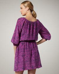Shoshanna - Purple Paisley-print Smocked-waist Dress - Lyst