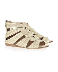 DKNY | Metallic Destin Faux-python Washed-leather Sandals | Lyst