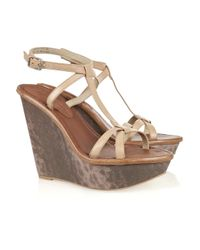 Elizabeth and James | Brown Hazel Lizard-effect Leather Wedges | Lyst