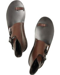 Michael Kors | Brown Buckled Flat Leather Sandals | Lyst