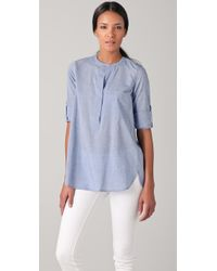 Vince - Roll Sleeve Half Placket Shirt in Sky Blue Solid - Lyst