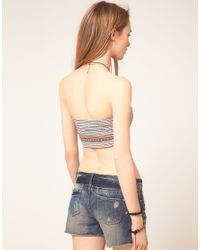Free People - Gray Moroccan Tribal Print Bandeau Crop Top - Lyst