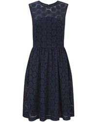French Connection Blue Orient Eyelets Dress