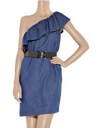 Boutique Moschino | Blue Belted Denim One-shoulder Dress | Lyst