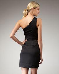 Shoshanna - Black Beaded One-shoulder Dress - Lyst