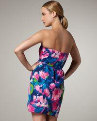 Shoshanna - Multicolor Strapless Tulip-print Dress - Lyst