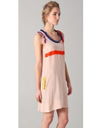 Sonia by Sonia Rykiel - Pink Tank Dress with Contrast Trim - Lyst