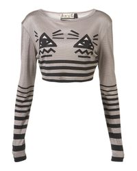 Topshop | Gray All Seeing Eye Crop By Unique** | Lyst