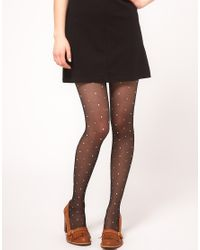 Smythson - Black Falke Polka Dot Tights - Lyst