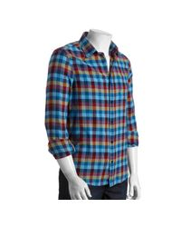 Original Penguin | Blue Bold Plaid Check Long Sleeve Shirt for Men | Lyst