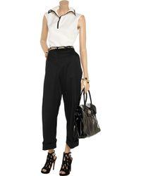 Valentino | Black Cropped Wide-leg Stretch-wool Pants | Lyst
