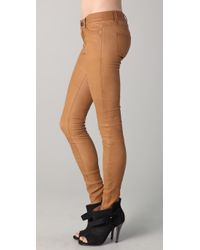 Current/Elliott - Green The Ankle Skinny Leather Pants - Lyst