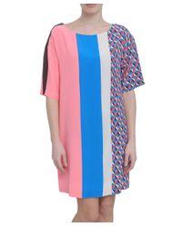 MSGM   Geometric Print Silk Multicolor Dress   Lyst