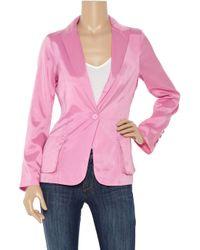Halston - Pink Satin Blazer - Lyst