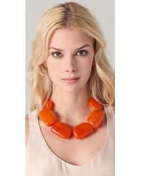 Kenneth Jay Lane - Metallic Amber Pebble Necklace - Lyst