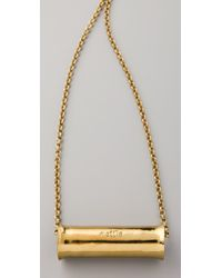 Mettle - Metallic Long Concave Cylinder Pendant Necklace - Lyst