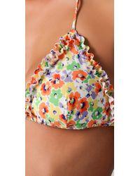 Shoshanna - Multicolor Pansy Garden Ruffle Bikini Top - Lyst