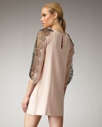 Tibi | Pink Lace-sleeve Shift Dress | Lyst