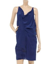 Vanessa Bruno | Blue Embroidered Silk Charmeuse Dress | Lyst