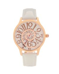 Betsey Johnson | White Lots N Lots Of Time Swirl Dial Watch | Lyst