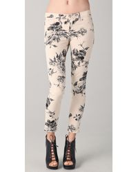 J Brand   Natural Large Floral Print Skinny Jeans   Lyst