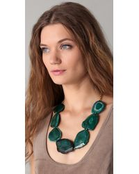 Kenneth Jay Lane | Green Chain & Natural Stone Necklace | Lyst