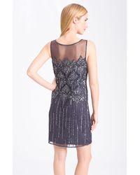 Pisarro Nights | Gray Beaded Illusion Cocktail Dress | Lyst