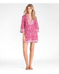 Tory Burch | Pink Printed Cotton Tunic | Lyst