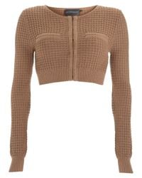 Antipodium - Brown Taupe Waffle Knit Cropped Cardigan - Lyst