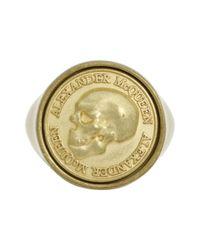 Alexander McQueen - Metallic Coin Signet Ring - Lyst