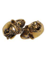 Alexander McQueen - Brown Gold Iris and Skull Ring - Lyst