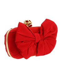 Alexander McQueen | Red Classic Skull Clutch with Bow | Lyst