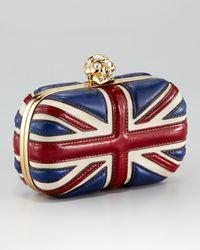 Alexander McQueen - Red Britannia Skull-Clasp Clutch Bag - Lyst