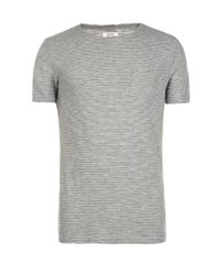 AllSaints | Gray Roots Cut Collar Crew T-shirt for Men | Lyst