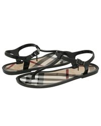 Burberry | Black Rubber Thong Sandals | Lyst
