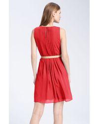 Red Belted Chiffon Dress