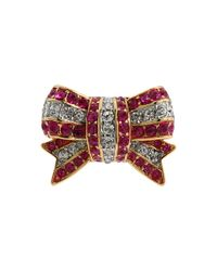 Juicy Couture - Red Starlet Escape Stretch Pave Bow Ring - Lyst