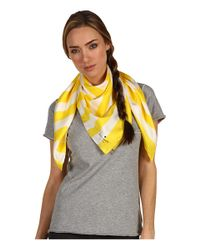 kate spade new york | Yellow Sailor Stripe Silk Scarf | Lyst