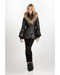 Mackage | Black Peaches C Short Puffer Jacket with Coyote Fur Trim | Lyst