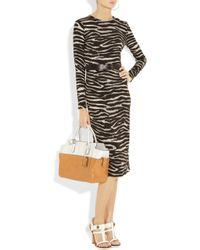 Michael Kors - Brown Belted Zebra-print Stretch-crepe Dress - Lyst