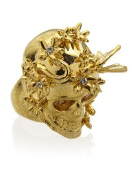 Alexander McQueen - Metallic Skull Butterfly Ring - Lyst