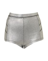 TOPSHOP - Metallic Holographic Knicker Shorts - Lyst